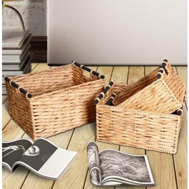 Set Of 4 Rectangle Basket W Black Handle Storage Holder Fruit Brown 49x28cm