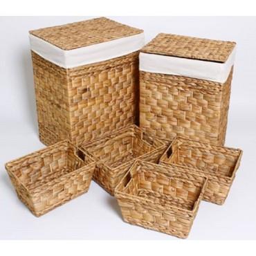 Set Of 8 Rectangle Laundry Basket Storage Holder Fruit Hyacinth Brown 44x56cm