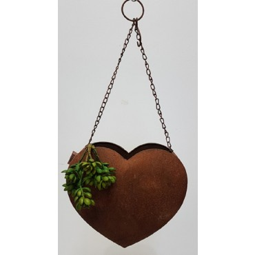 HANGING HEART PLANTER POT FLOWER HOLDER GARDEN OUTDOOR METAL RUST BROWN 30x55cm