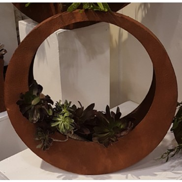 MEDIUM RING PLANTER POT FLOWER HOLDER GARDEN OUTDOOR METAL RUST BROWN 60x60cm