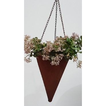 HANGING CONE PLANTER POT FLOWER HOLDER GARDEN OUTDOOR METAL RUST BROWN 25x35cm
