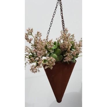 HANGING CONE PLANTER POT FLOWER HOLDER GARDEN OUTDOOR METAL RUST BROWN 19x25cm