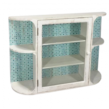 Shelf Unit w Opening Glass Door Shelve Rack Bookshelf Storage Wood 61x56cm