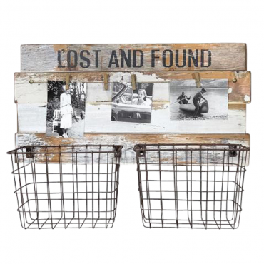 Lost And Found Fruit Holder W Photograph Clips Wall Hanging Storage 53x39cm