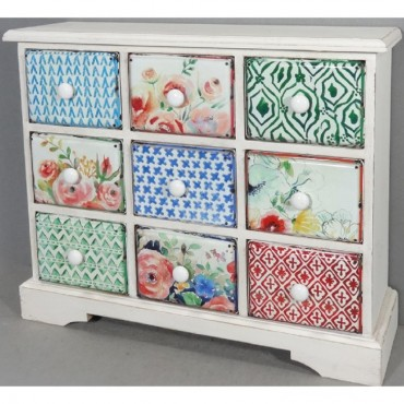 Small Cabinet With 9 Drawers Wood Buffet Storage Cupboard 55x45cm
