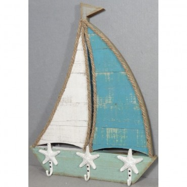 Boat Inspired Hook Wall Hanger Hanging Holder Wood Metal 40x50cm