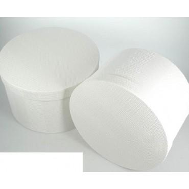 bulk 2 Set 10 Round Texture Flock Gift Box Party Wedding White 42x25cm