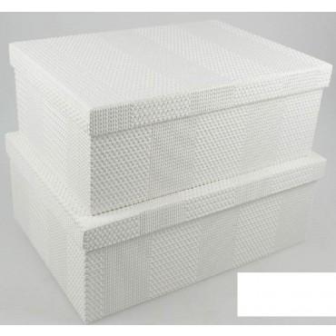 bulk 2 Set Of 18 Texture Flock Pattern Gift Box Party Wedding White 43x16cm