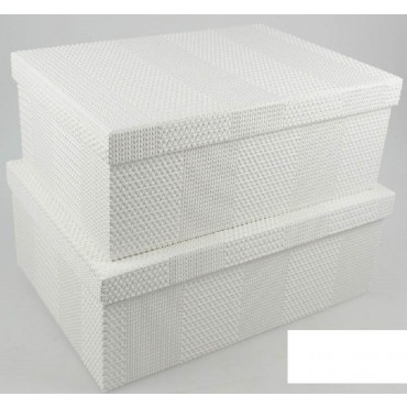 bulk 2 Set 18 Texture Flock Pattern Gift Box Party Wedding White 43x16cm