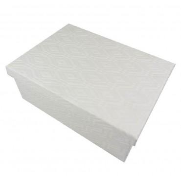 bulk 2 Set Of 18 Diamante Pattern Gift Box Party Wedding White 43x16cm