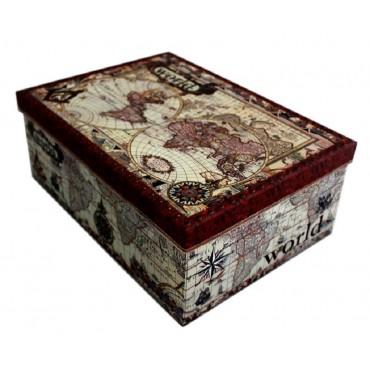 bulk 2 Set Of 18 World Map Gift Box Party Wedding Cardboard 43x16cm