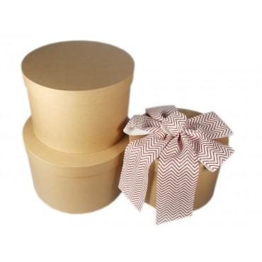 bulk 2 Set Of 10 Round Kraft Gift Box Party Wedding Cardboard Natural 45x25cm