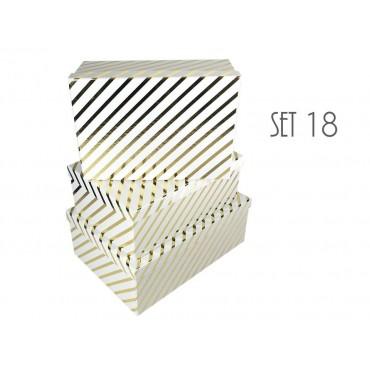 bulk 2 Set Of 18 Foiled Gift Box Diagonal Stripe Party Wedding Paper 43x16cm