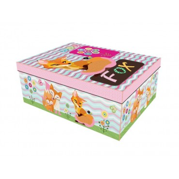 bulk 2 Set Of 18 Fox Family Cardboard Gift Box Party Wedding Paper 43x16cm