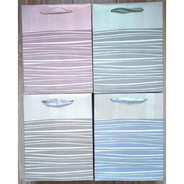 bulk 24 Medium Foiled Ocean Waves Gift Bag 4 Assort Party Wedding 18x23cm