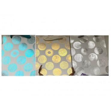 bulk 24 Medium Foiled Pom Poms Gift Bag Med 3 Assort Party Wedding 18x23cm