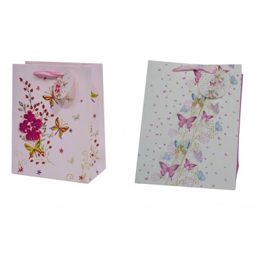 bulk 24 Medium 3D Glitter Butterfly Gift Bag Med 2 Assort Party Wedding 18x23cm