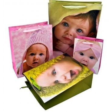 bulk 48 Medium Baby Face Gift Bag 210Gsm 4 Assort Party Wedding 18x23cm