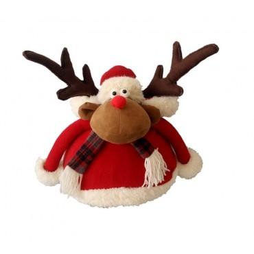 bulk 2 Pc Xmas Christmas Moose Garden Ornament Figurine Fabric Red 43x40cm