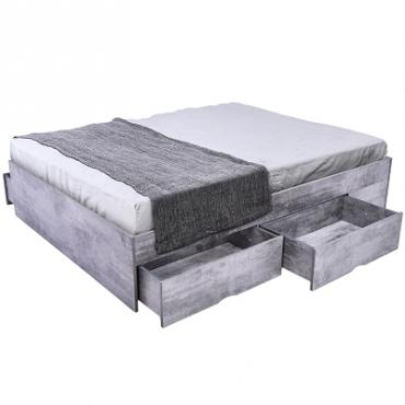 Bozz 4 drawers premium storage platform Bed Iron Slate