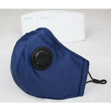 Reusable Cotton Cloth Face Mask w/ 2 PM2.5 Filters Adjustable w/ Breathing Valve 3Ply Blue