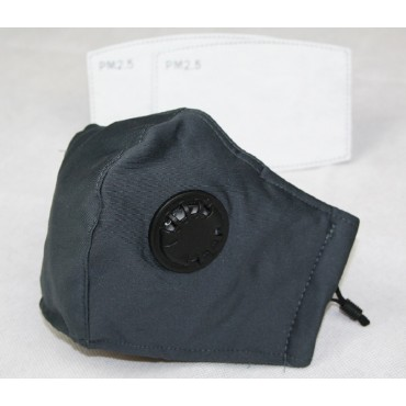 Reusable Cotton Cloth Face Mask w/ 2 PM2.5 Filters Adjustable w/ Breathing Valve 3Ply Slate Grey
