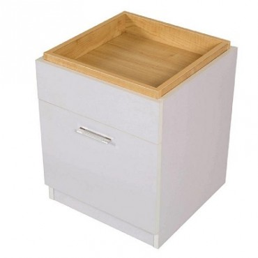 Emily Bedside Table with Storage Top and Drawer White