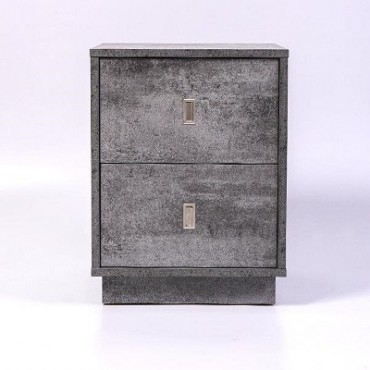 Emma 2 Drawer Bedside Table Iron Slate