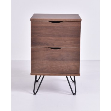 Flex Bedside Table Lamp Bed Side Unit Nightstand metal leg Walnut 35x54cm