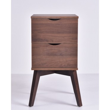 Hubie Bedside Table Lamp Bed Side Unit Nightstand timber legs Walnut 35x68cm