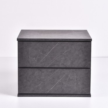 Jupiter Bedside Table Lamp Bed Side Unit Nightstand Grey Stone 50x40cm