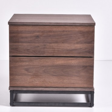 Margo Bedside Table Lamp Bed Side Unit Nightstand Walnut 50x50cm
