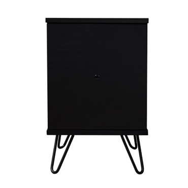 Marion Bedside Table With Drawer Lamp Bed Side Unit Nightstand Black 35x55cm