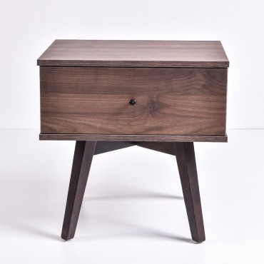 Miranda Bedside Table Lamp Bed Side Unit Nightstand Walnut 50x50cm