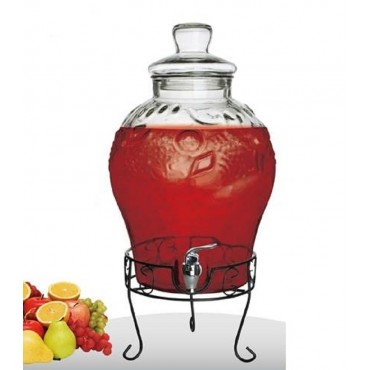 10Lt Glass Drink Dispenser W Stand Tap Beverage Party Cafe Metal Glass 29x50cm